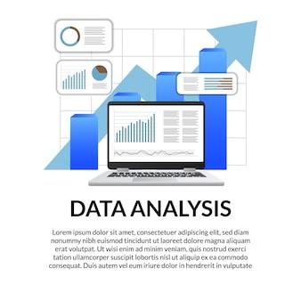 Gráfico de laptop de tela 3d, diagrama, seta, barra, infográfico para análise de dados