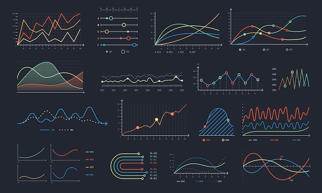 Gráfico de linha. crescimento de gráfico linear, gráficos de diagrama de negócios e gráfico isolado histograma colorido conjunto