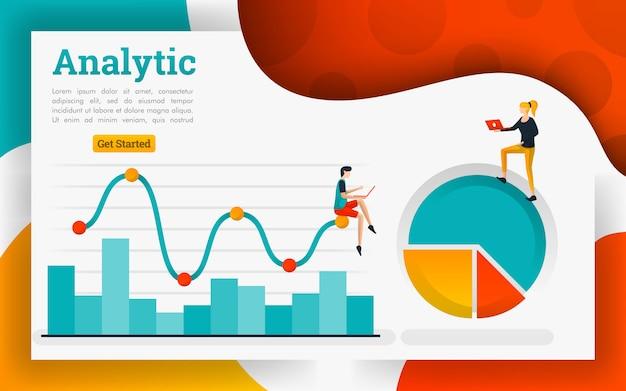 Gráfico de linhas para tecnologia de negócios e conceito de marketing