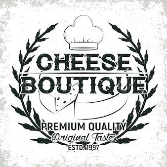 Gráfico de logotipo vintage, carimbo de impressão, emblema de tipografia de queijeiro