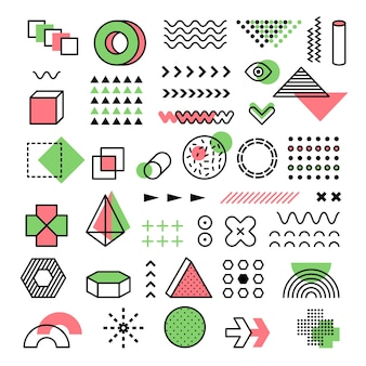 Gráfico de memphis. anos 90 moda linhas geométricas pontos formas modernas, triângulos vetoriais funkie memphis formas. elementos de doodle geométricos da moda vintage de ilustração