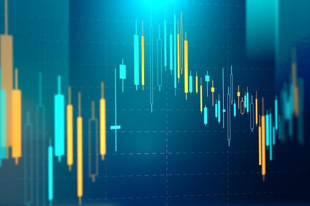 Gráfico de mercado de ações vetor de fundo azul