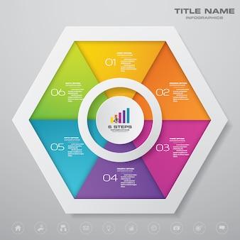 Gráfico de modelo de elemento de 6 etapas infográficos