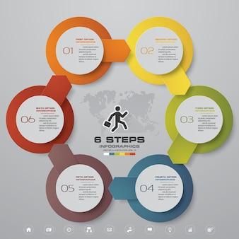 Gráfico de modelo de elemento de infográficos de 6 etapas