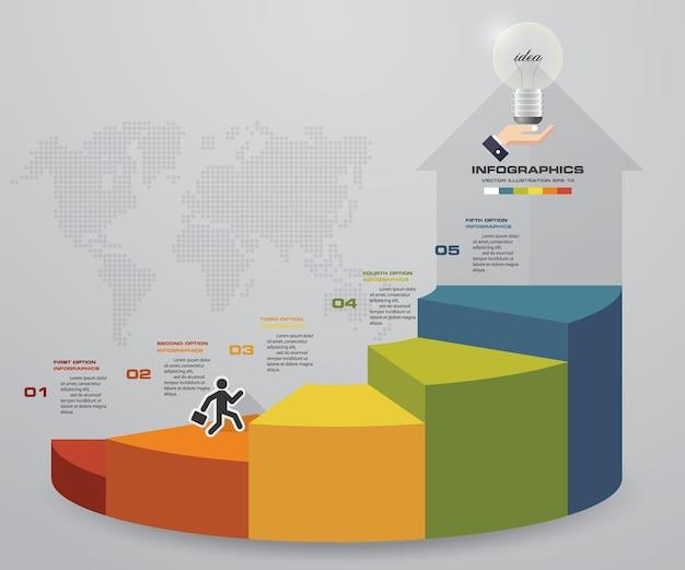Gráfico de modelo de escada de infográficos de 5 passos.