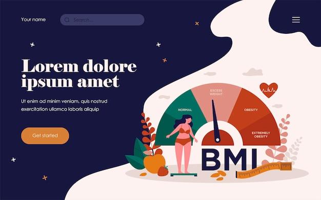 Gráfico de mulher e obesos escalas ilustração vetorial plana isolada. pessoa dos desenhos animados na dieta tentando controlar o peso com o imc. índice de massa corporal e conceito de exercícios físicos