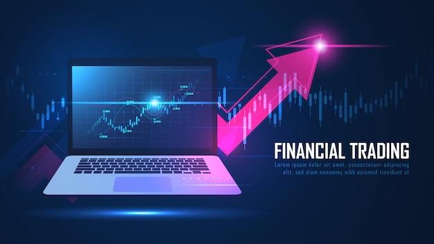 Gráfico de negociação on-line do mercado de ações ou forex no conceito de notebook