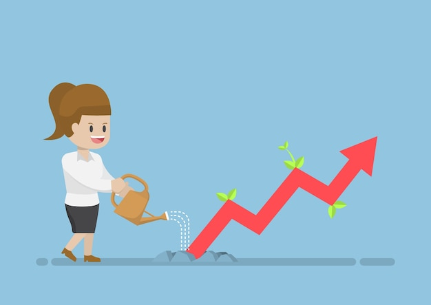 Gráfico de negócios de rega de empresária que mostra crescimento através do solo