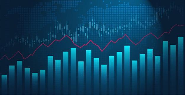 Gráfico de negócios do mercado de ações, negociação com uma linha vermelha de tendência de alta. gráfico econômico de investimento financeiro de crescimento ou queda.
