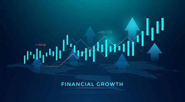 Gráfico de negócios em bastão de vela de negociação de investimentos no mercado de ações