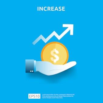 Gráfico de negócios na mão. aumento da taxa salarial de renda. receita de margem de crescimento gráfico. financiar o desempenho do conceito de roi de retorno do investimento com elemento de seta. design de estilo simples