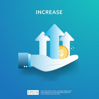 Gráfico de negócios na mão. aumento da taxa salarial de renda. receita de margem de crescimento gráfico.