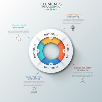Gráfico de pizza circular dividido em 4 peças coloridas, símbolos de linha fina e caixas de texto. conceito de quatro características de processo de negócios. layout do projeto criativo infográfico.