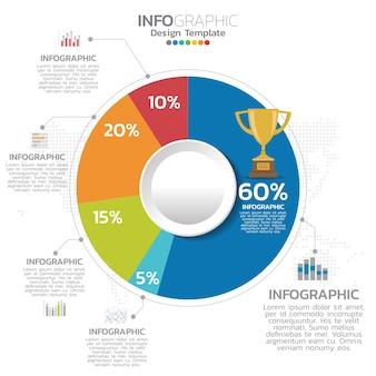 Gráfico de pizza de negócios coloridos para seus documentos, relatórios, apresentações e infográfico.