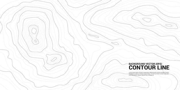 Gráfico de plano de fundo da linha de contorno. conceito de geografia e terreno simples