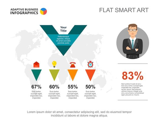 Gráfico de porcentagem de quatro opções. dados da empresa.