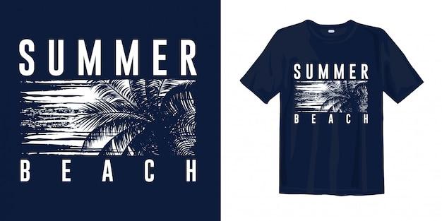 Gráfico de praia verão elegante com silhueta palm
