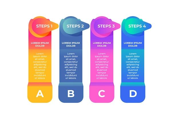 Gráfico de processo no modelo de infográfico de etapas