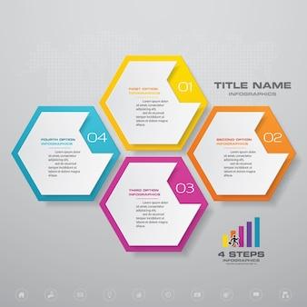 Gráfico de processo simples e editável de 4 etapas. eps 10