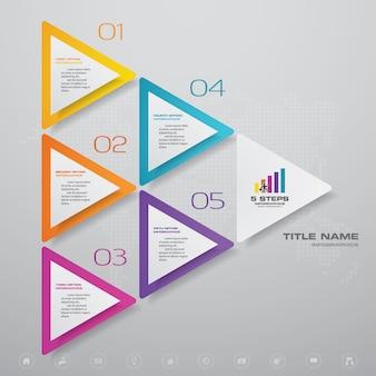 Gráfico de processo simples e editável de 5 etapas. eps 10