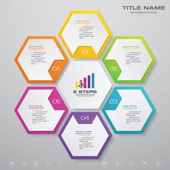 Gráfico de processo simples e editável de 6 etapas. eps 10