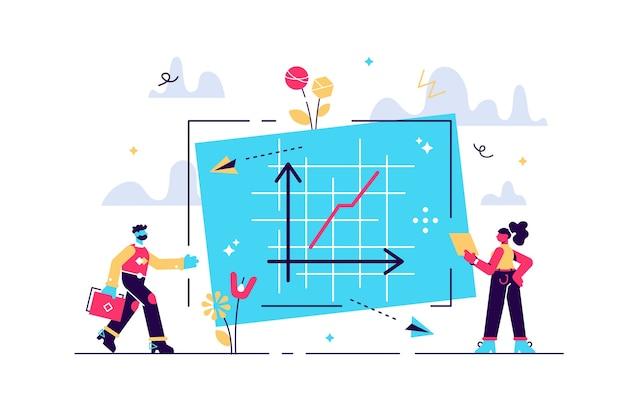 Gráfico de progresso com taxa de sucesso e crescimento no conceito de pessoas minúsculas do eixo