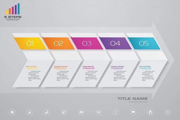 Gráfico de seta e elemento de infográficos de cronograma.