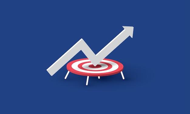 Gráfico de setas pula no trampolim e pula para cima inspiração de negócios de sucesso