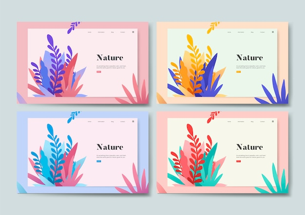 Gráfico de site informativo de natureza e plantas