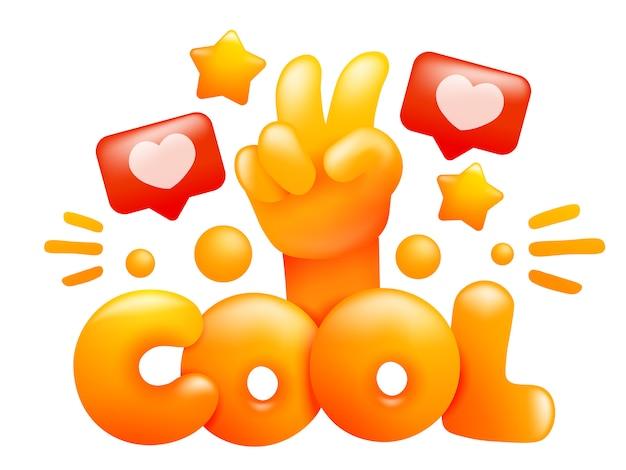 Gráfico de slogan. mensagem legal com mão emoji amarelo. estilo 3d de desenho animado.