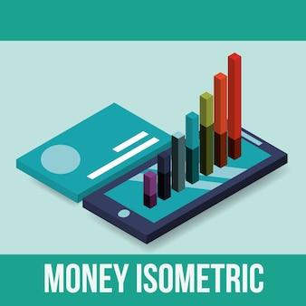 Gráfico de smartphone e estatísticas de cartão de crédito isométrico de dinheiro