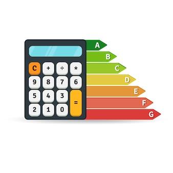 Gráfico de taxa de eficiência energética com calculadora