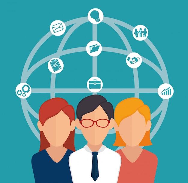 Gráfico de trabalho em equipe de negócios