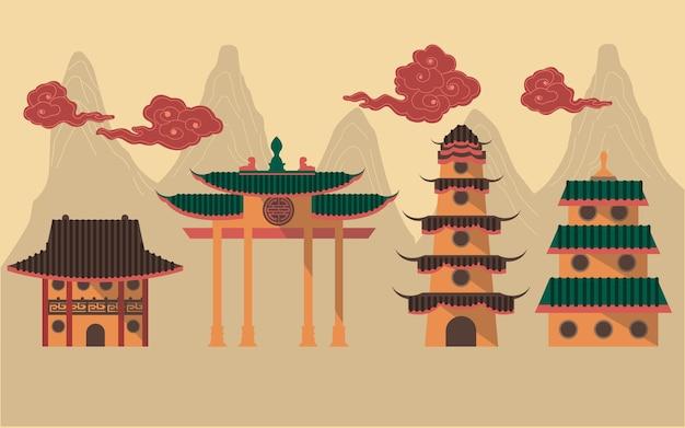 Gráfico, de, tradicional, chinês, predios, para, decoração