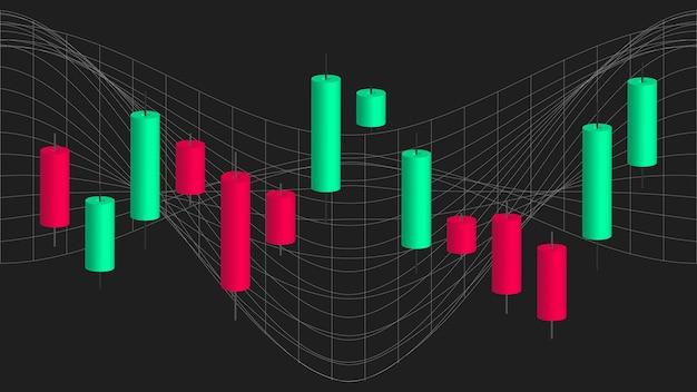 Gráfico de velas japonesas. comércio on-line. mercado financeiro