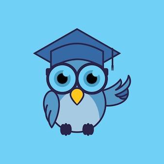 Gráfico de vetor de design de mascote de educação de personagem inteligente de coruja fofa ilustração