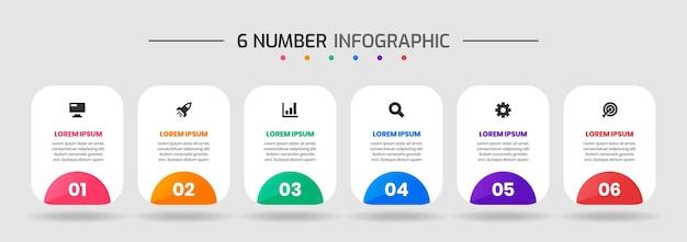 Gráfico de vetor de modelos de design de elemento de infográfico com ícones e 6 números