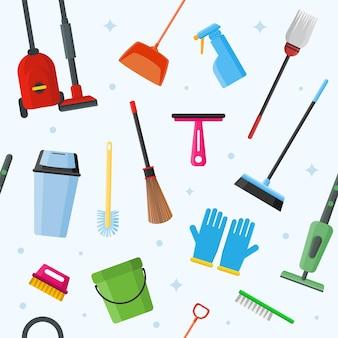 Gráfico de vetor de padrão sem emenda de ferramentas de limpeza