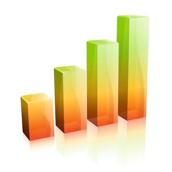 Gráfico de vidro 3d. conceito - sucesso nos negócios