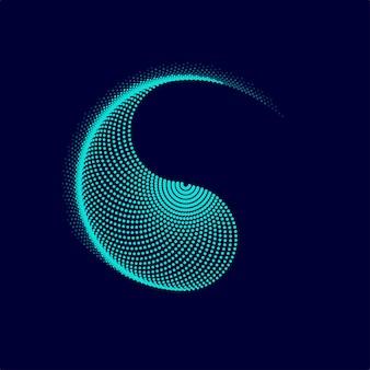 Gráfico de yin yang apresentado pelo efeito de mistura pontilhada