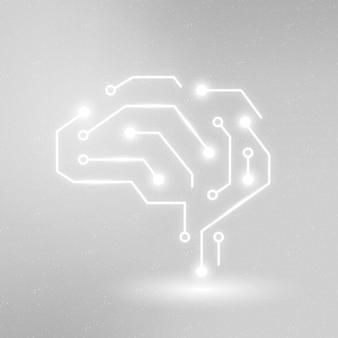 Gráfico digital branco de vetor de ícone de educação de tecnologia de ia
