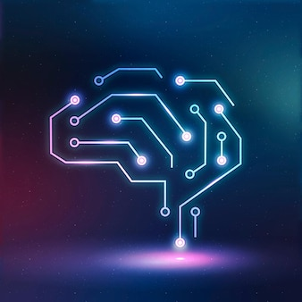 Gráfico digital de néon de vetor de ícone de educação de tecnologia de ia