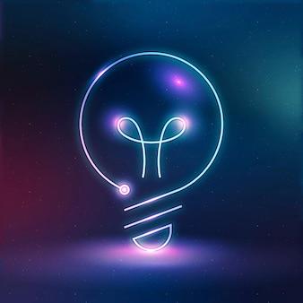 Gráfico digital de néon do vetor do ícone da educação da lâmpada