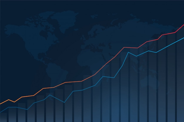 Gráfico do investimento do mercado de valores de ação e fundo do mapa do mundo.