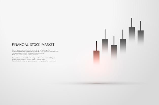Gráfico do mercado de ações ou gráfico de negociação forex para conceitos de negócios e financeiros, relatórios e investimentos em fundo cinza. velas japonesas. ilustração vetorial Vetor Premium