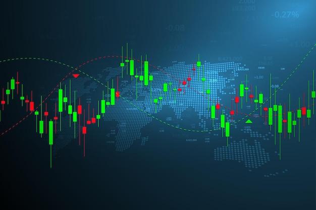 Gráfico do mercado de ações ou gráfico de negociação forex para conceitos de negócios e financeiros, relatórios e investimentos em fundo escuro. ilustração vetorial