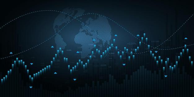 Gráfico do mercado de ações ou gráfico de negociação forex para conceitos, relatórios e investimentos financeiros e de negócios. velas japonesas.