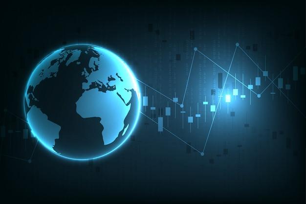 Gráfico do mercado de ações ou gráfico de negociação forex para negócios e conceitos financeiros, relatórios e investimentos em fundo escuro.