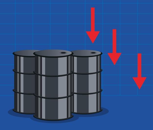 Gráfico do preço do petróleo com barris e setas para baixo