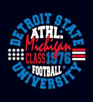 Gráfico do tshirt do sportswear de americas do estado de detroit